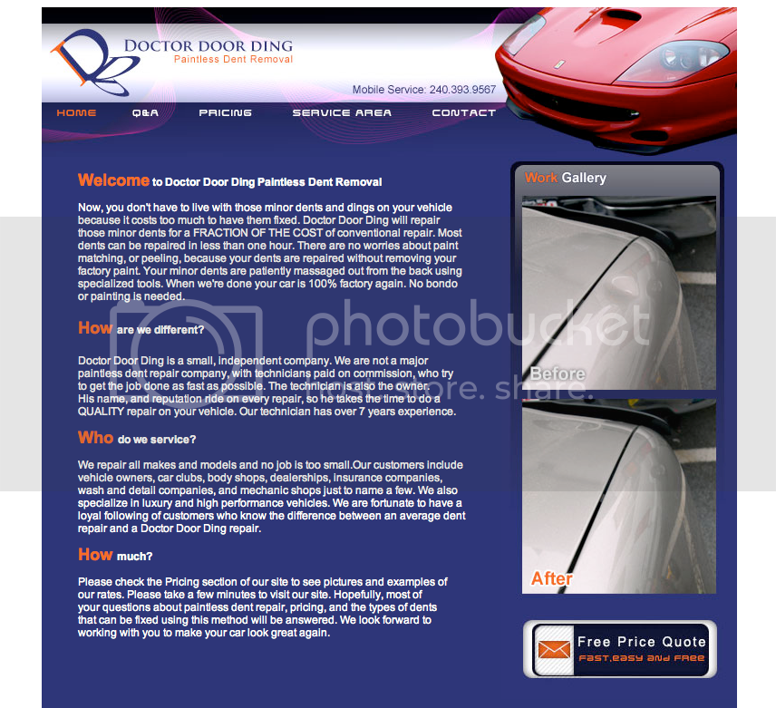 Mobile Auto Reconditioning Paintless Dent Removal Pdr