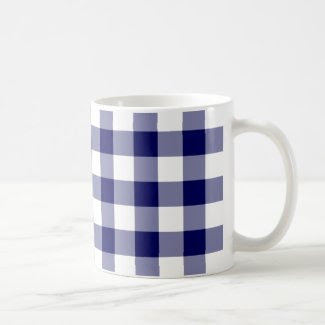 Navy and White Gingham Pattern Ringer Coffee Mug
