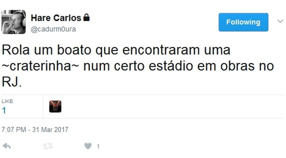 Funcionário do Botafogo, Cadu Moura provoca no twitter (Foto: Reprodução/Twitter)