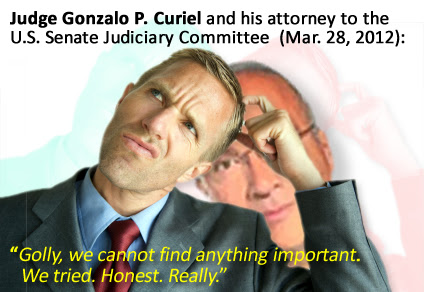 Gonzalo P. Curiel's excuses to the Senate Judiciary Committee. He concealed ALL writings and teaching on his immigration beliefs.