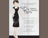 Crowned Adult Woman With Short Hair - Birthday Party Invitations