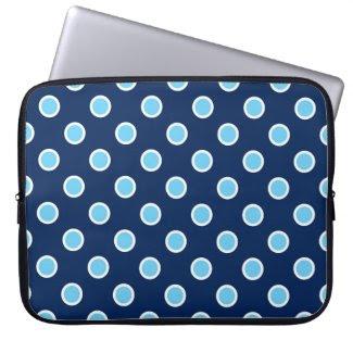 Light Blue Polka Dots on Dark Blue Laptop Sleeve