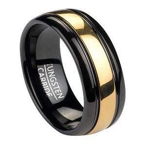 8mm Men's Black Tungsten Ring w/ Gold Tone Inlay