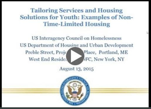 Presentation Slide for Webinar on Non-Time-Limited Housing for Youth