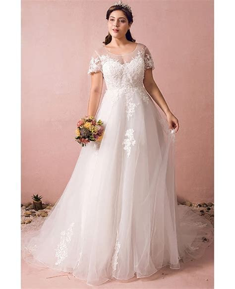 Boho Lace A Line Beach Wedding Dress Plus Size With