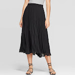 Women's Mid-Rise Pleated Midi Skirt - A New Day Black