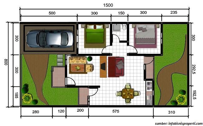 Gambar Denah Rumah Minimalis Ukuran 6x10 Terbaru bagus