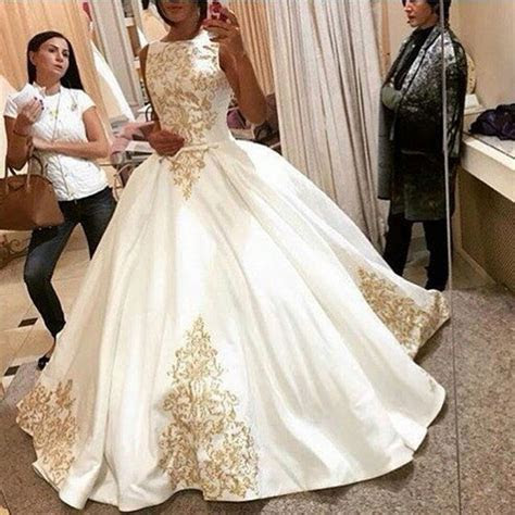 Empire High Quality Ivory With Gold Embroidered Court