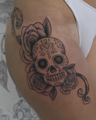 Tatuaje Calavera Mexicana Con Rosas En Su Tinta Estudio