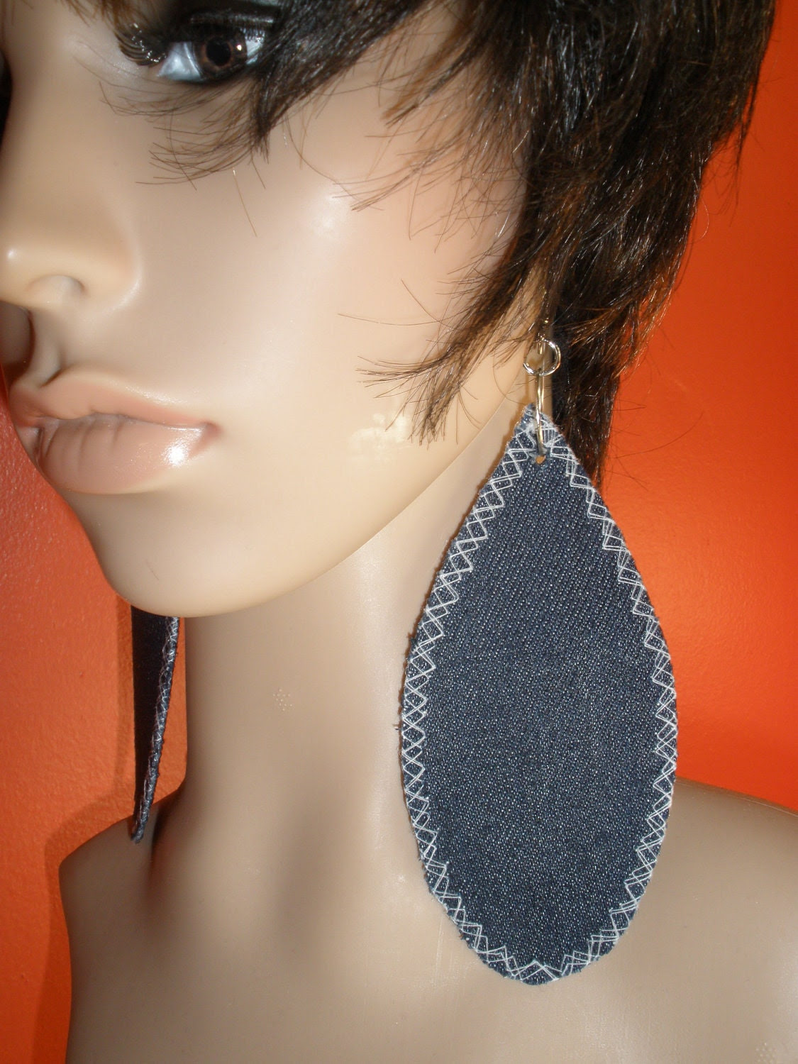 Gorgeous Attractive Dangling Denim Fabric Earrings