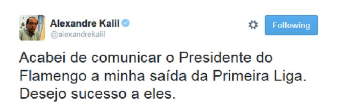 Kalil anuncia saída da Primeira Liga (Foto: Reprodução/Twitter)