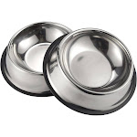 Juvale Stainless Steel Dog Bowls - Set of 2 Large Pet Food and Water Dish Bowls, Ideal for Large Dogs - Silver, 10 Inches Diameter