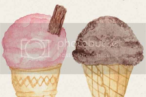 Happiness is... watercolour illustrated ice cream stationery notecard sets