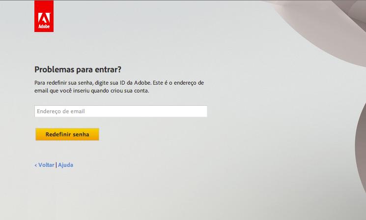 Tela de login nos serviços da Adobe (Foto: Reprodução/Adobe)