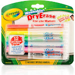Crayola Fine Line Washable Dry Erase Markers (12 Count)