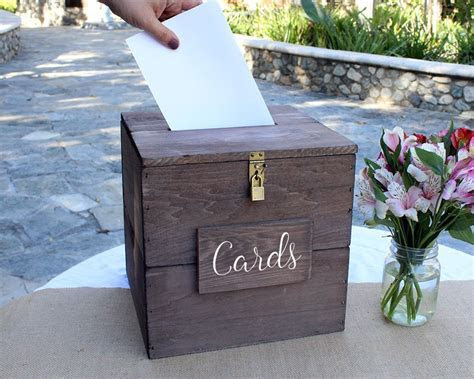 Buy Rustic Wedding Card Box with Slot and Lock Wedding