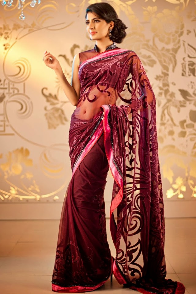 69268a5a6e Bridal-Wedding-Formal-Casual-Party-Wear-Sarees-Dress- Brown Formal Wear  Saree