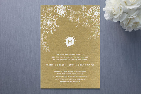 Knobbly Blooms floral wedding invitations were designed by Stacey Day for
