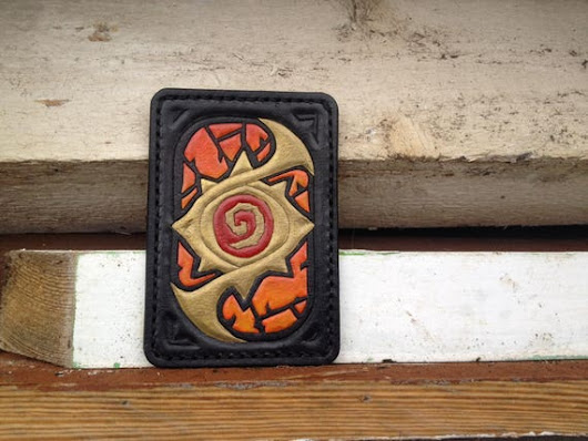 Hearthstone Leather Diablo Version Leather Handcrafted Cardwallet, Geeky Leather Gift, Handmade Leather Cardholder