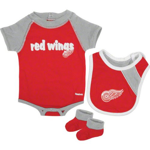 NHL Infant Detroit Red Wings Creeper, Bib & Bootie Set - R52Njdee (Red, 12 Months)