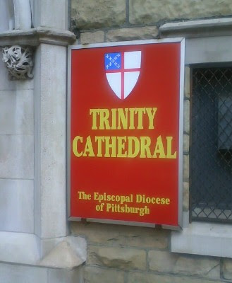 New sign at rear of Trinity Cathedral