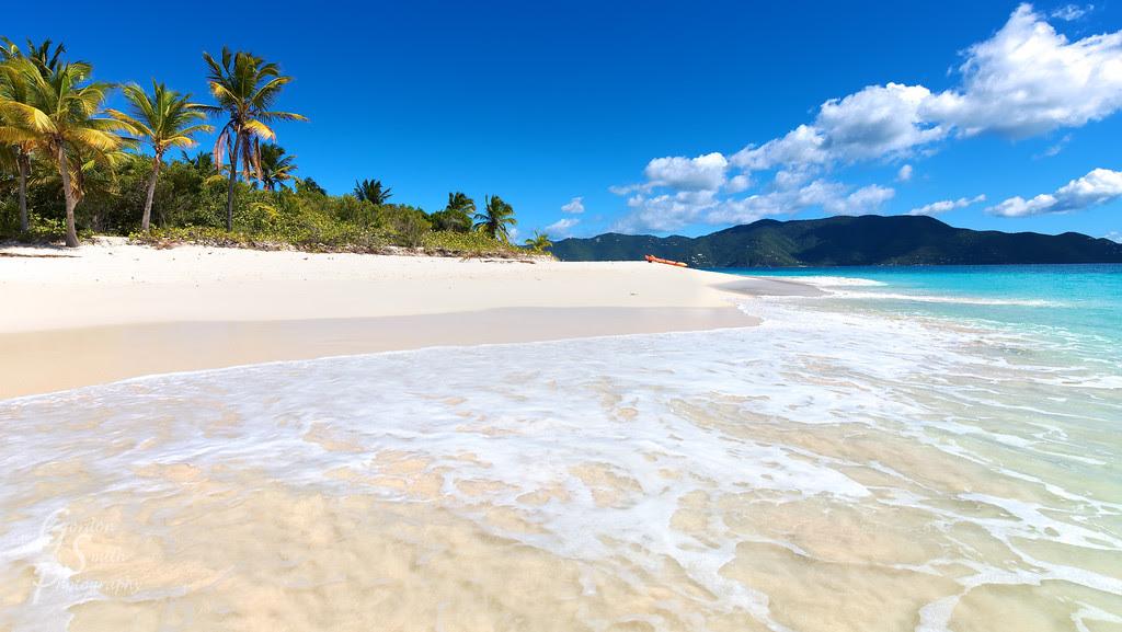 sandy cay beach and waves bvi