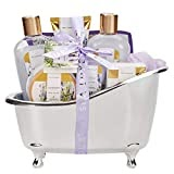 #9: Spa Luxetique Spa Gift Basket Lavender Fragrance, Luxurious 8pc Gift Baskets for Women, Cute Bath Tub Holder - Bath Gift Set Includes Shower Gel, Bubble Bath, Bath Salts & More. Best Holiday Gift Set.