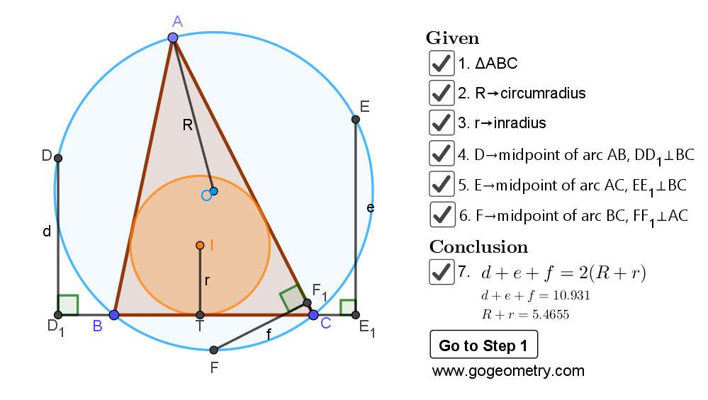 Dynamic Geometry Problem 1469: Triangle, Circumradius, Inradius, Midpoints, Arcs, Sum of Distances, Step-by-step Illustration, iPad.