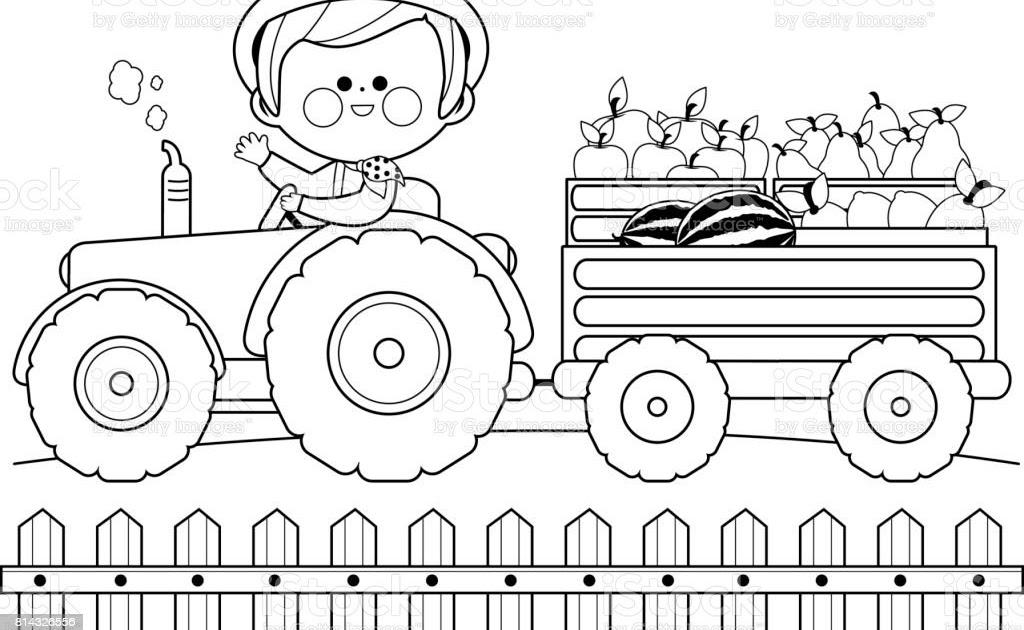 traktor mit anhänger zum ausmalen