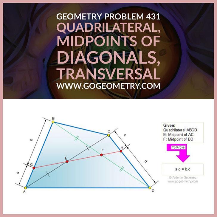 Problema de Geometría 431. Cuadrilatero, Puntos medios de las diagonales, Transversal, Recta secante, iPad, Apps, poster, tipografia. Ingles ESL.