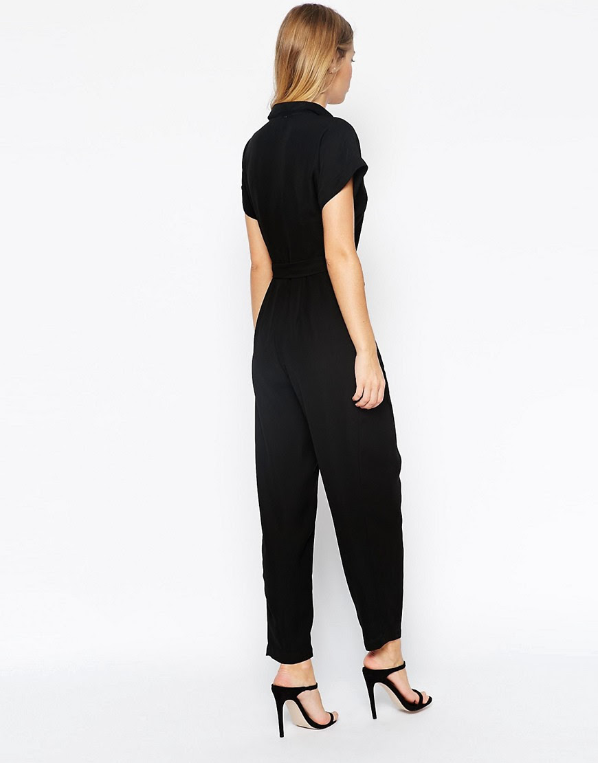 Image 2 of ASOS PETITE Jumpsuit With Wrap Collar And D Ring Belt