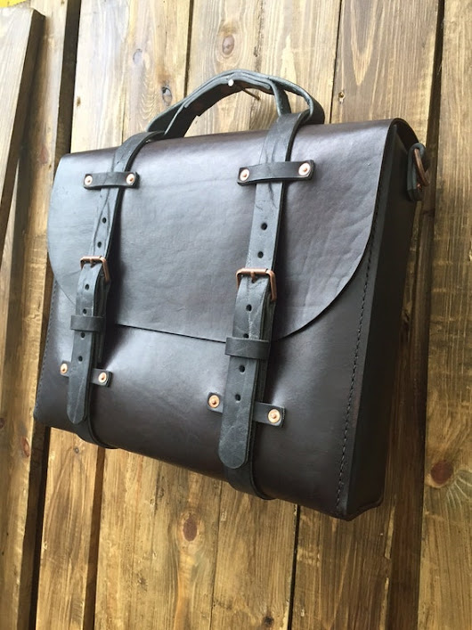 Mens Rugged Leather Vintage Inspired Satchel  Handcrafted