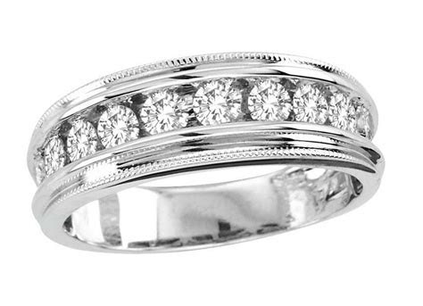 14K Mens White Gold Round Diamond Channel Milgrain Wedding