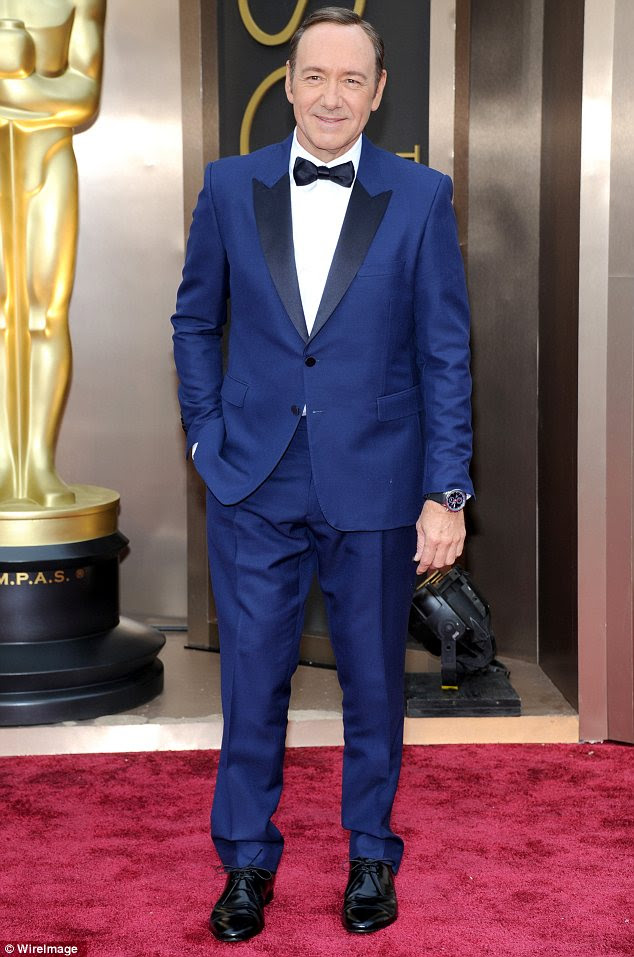 Stepping out: Kevin Spacey (pictured, at this year's Golden Globe Awards) is one of many celebrity men to embrace the blue tuxedo trend