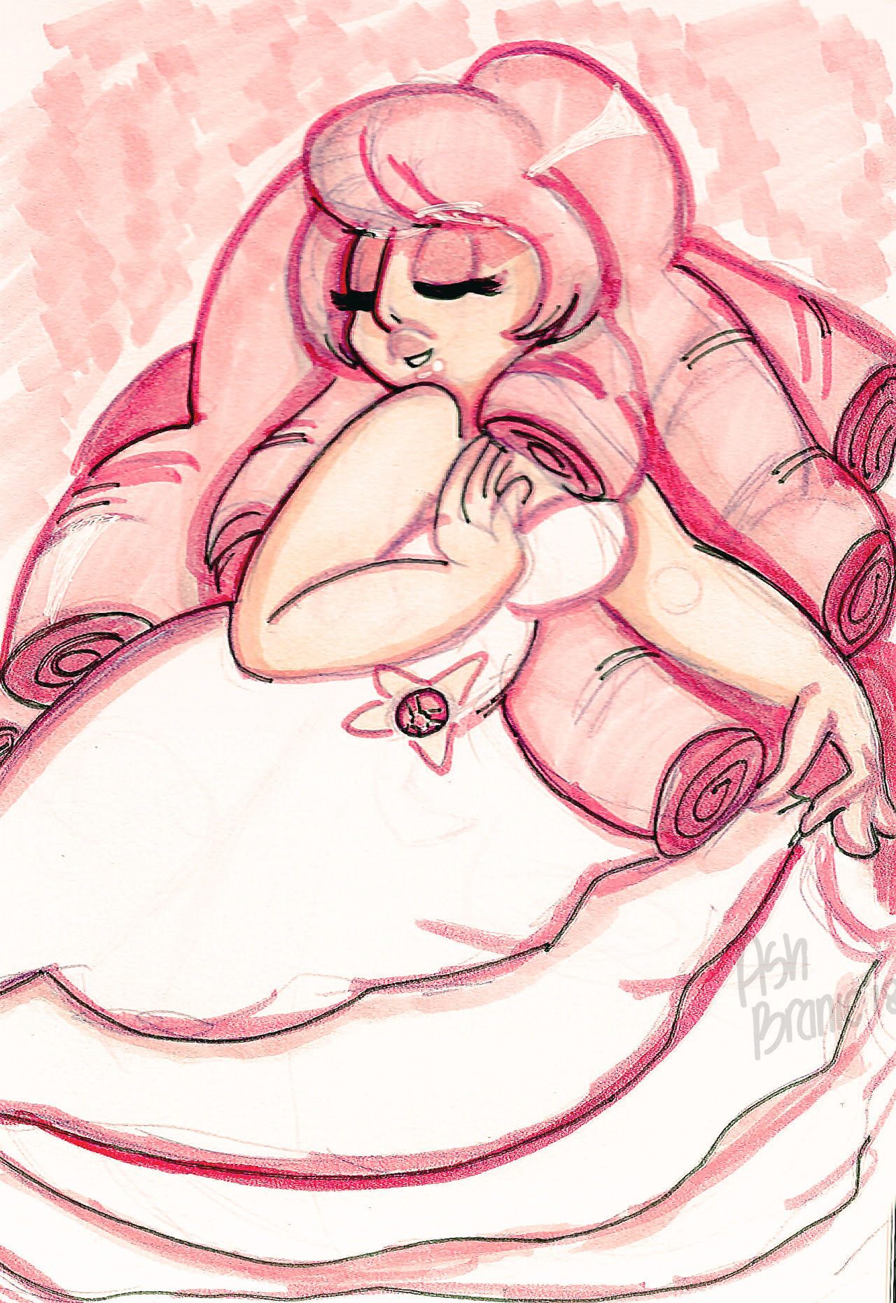 Marker doodle of Rose Quartz. Speedpaint of this coming tomorrow