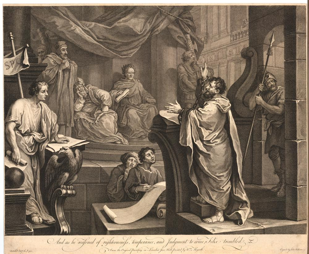 Paul before Felix, showing St Paul on trial before Felix, governor of Caesarea; the Saint to right, Felix and two priests on a dais, one sitting, asleep, beside the governor, two clerks in front of the bench at which St Paul stands, a figure with the Roman standard and a scroll to left, a soldier to right and two figures carrying fascae either side of the dais; state before quotation from Warton included and date earsed.  1752 Etching and engraving