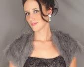 Gray- (SMALL) - Short Sleeve Mongolian Faux Fur Bolero Jacket, Shrug, Stole, Wrap, Bridal Wedding Shawl