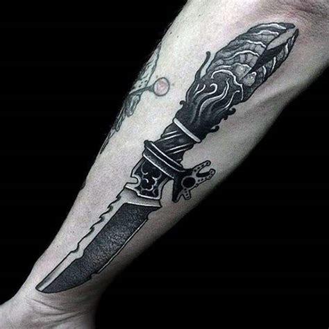 attractive knife dagger tattoos