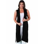 24/7 Comfort Apparel Women's Plus Size Sleeveless Long Shrug Black 3X