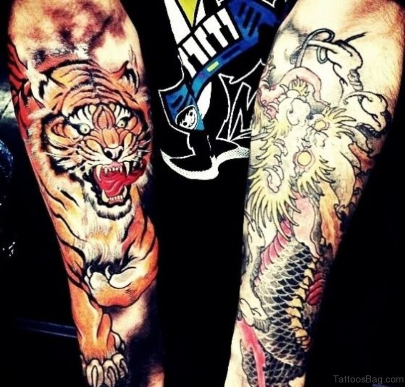 Pictures Of Tiger And Dragon Tattoo Arm Rock Cafe