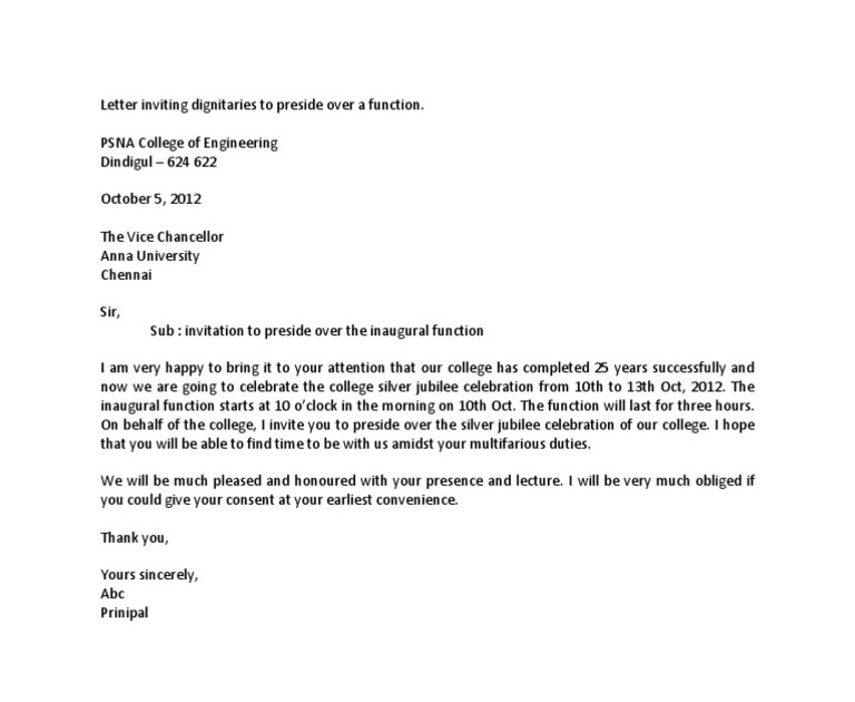 official invitation letter sample