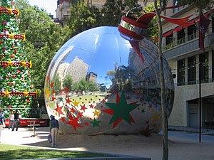 Christmas ball sculpture in Melbourne, Australia