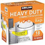 Kirkland Signature 18-Gallon Compactor & Kitchen Trash Bag, 70-count