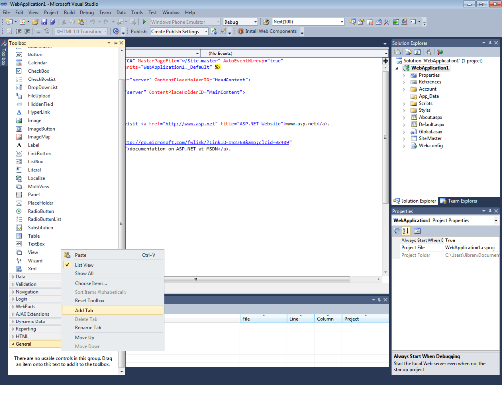 Adding Ajax toolkit in Visual Studio