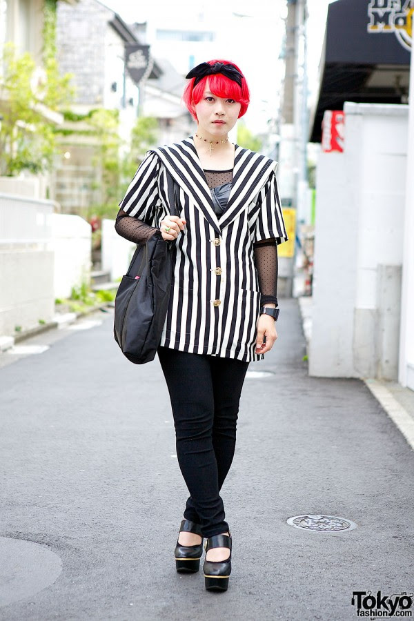 Striped Jacket & Red Hair in Harajuku