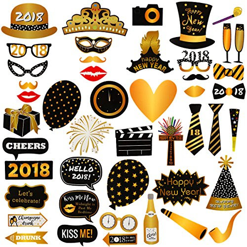 46pcs 2018 New Years Eve Photo Booth Props Party Supplies
