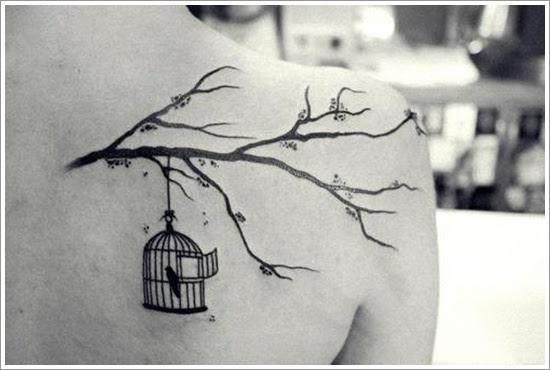 Tree And Flying Bird Tattoo Design Sample