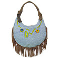 Leather and Jeans Flat Hobo Bag