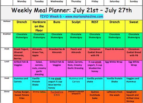 marlena hedine piyo week  meal plan  progress