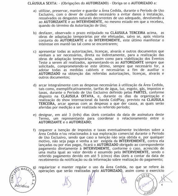 Documento lista obrigações do Rio 2016 que, segundo concessionária, não foram cumpridas (Foto: Reprodução)